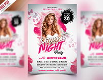 Free PSD : Saturday Night Party Flyer PSD Template