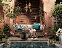 DSE Visualisation-Colourful outdoor space-Morocco style