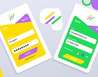 Creative, Colorful Mobile Login & Registration UI/UX