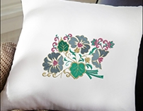COLORFUL LEAVES AND FLOWER EMBROIDERY DESIGN COLORFUL