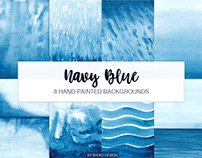 Navy Blue Watercolor Hand Painted Textures Backgrounds