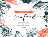 Seafood Hand Drawn Icon Set