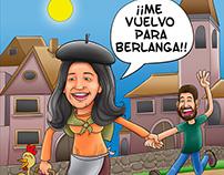 "Ilustración Caricatura ""Marian se va para Berlanga"""
