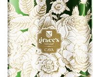 Diseño gráfico etiquetas cava Grace´s Harvest