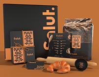 Salut bakery branding and packaging
