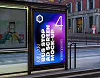 Milan Bus Stop Advertising Screen Mock-Ups 8 (v5)