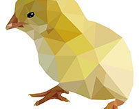 Low Poly Chick. Polygonal Vector Illustration