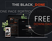 The Black_DONE- One Page Portfolio Template | FREEBIE