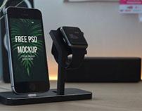 Free iPhone & Watch Mockup PSD