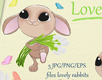 Lovely Rabbits Collection on Creative Market