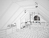 Эскиз игровой комнаты под мансардной крышей