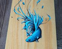 Fighting Fish Acrylic on Wood 55/9cm sMer one prod