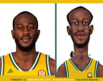 CSP Limoges Basketball Nobel Boungou Colo. Caricature