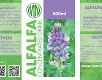 Alfalfa Concentrated Drink Label Design