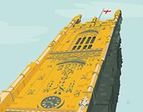 Derby Cathedral (UK) Vector Illustration.