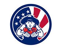 American Organic Grown Produce USA Flag Icon