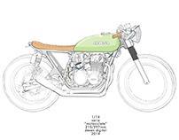 G A R A G E - Cafe Racer Colouring Book