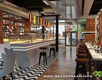 Gorgeous 3D Restaurant Bar Design View