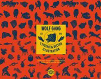 Wolf Gang Typeface & Vector llustration