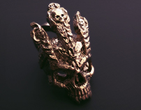 King of Worms Skull Pendant