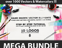 MEGA BUNDLE over 1000 Vectors & Watercolors