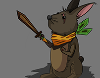 Rabbit with wooden sword, and carrot scarf