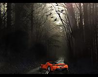 Photo manipulation car in forest I n'kolls
