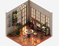 La Galería. Isometric 3d room