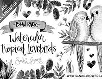 Watercolor Tropical Lovebirds - B&W Pack