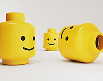 Freebie: 3D render of yellow plastic emoticon smiling.