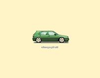 Volkswagen Golf MK3. Pixel Art Retouch