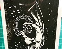 Stellar Ghosts Lino print