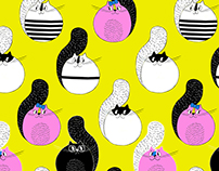 Mr.Meow and friends pattern illustration