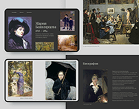 Website design about artist Maria Bashkirtseva