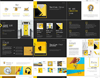 Yellow Market Report PowerPoint template
