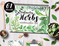 Herbs watercolor set