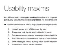 Reference: Lund Usability Maxims (1997)