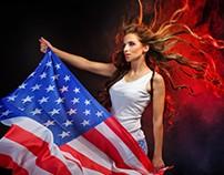 Girl holding US flag