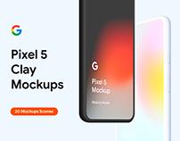Google Pixel 5 - 20 Clay Mockups Scenes - PSD