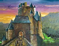 Oil painting. Elz Castle.