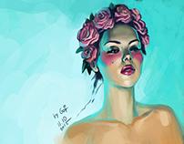 Tender Girl in the Circlet of Roses