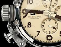 Dieselpunk U-Boat Dual Time Clock XWidget