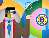 Illustration of Block Chain and Bitcoins Series.