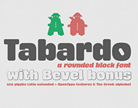Tabardo a rounded block font