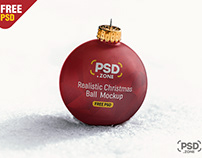 Realistic Christmas Ball Mockup PSD