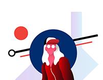 Square Girl - Flat Illustration