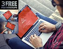 3 FREE PSD Mockups MacBook Pro