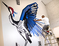 CRANE // TAPE ART MURAL // Beijing, China