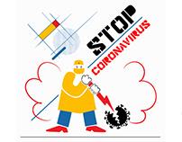 Stop Coronavirus, Bauhaus Style Banner