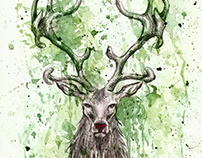 Rudolph Splash - Christmas Card Illustration